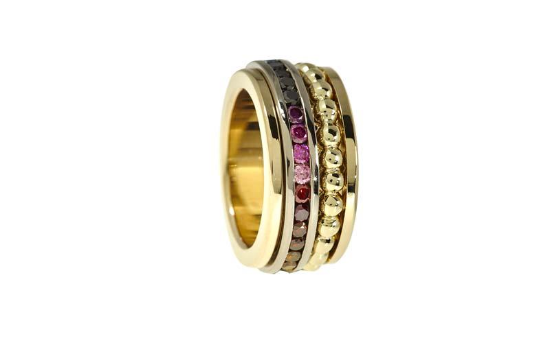 Kleurdiamanten, een ring met alle kleuren van de regenboog.