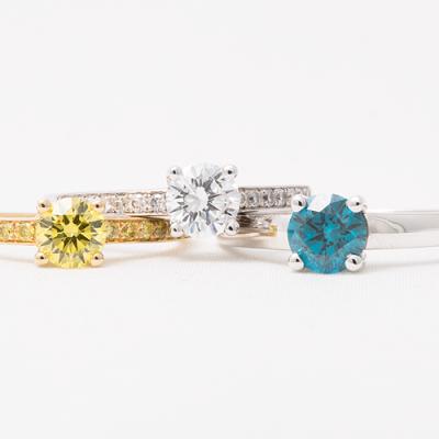 Solitair ringen met een kleurdiamant.